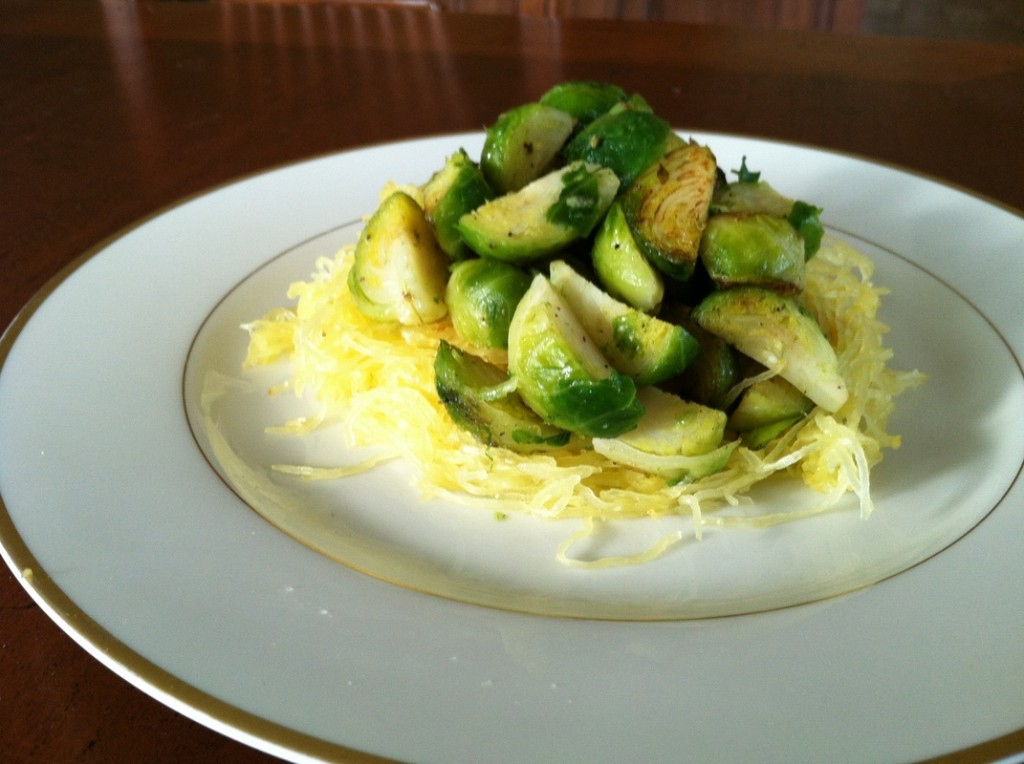 Brussels Sprouts on a Bed of Spaghetti Squash