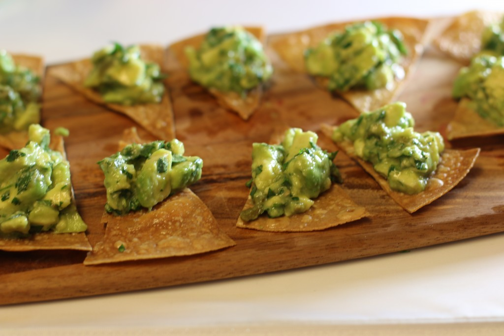 Roasted Jalapeño and Tomatillo Guacamole on Brown Rice Tortilla Chips