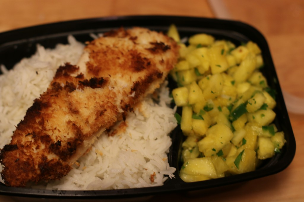 Baked Coconut Chicken with Pinapple Salsa