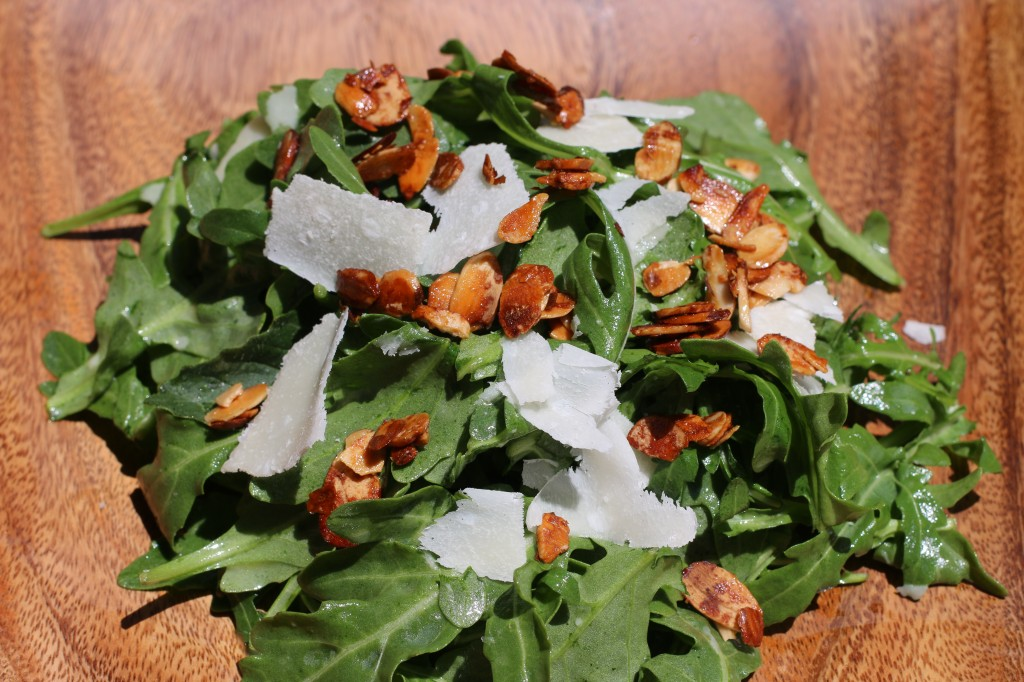 http://thedelectablefeast.com/arugula-and-honey-roasted-almond-salad-recipe/