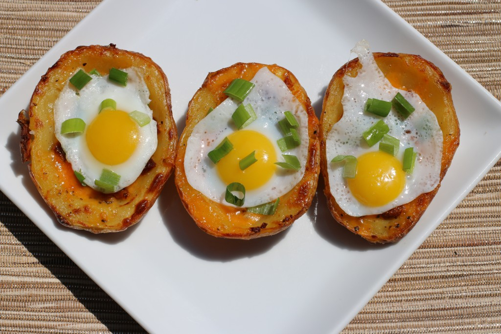 Peppery Potato Skins with Quail Eggs